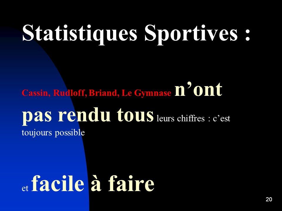 Statistiques Sportives :