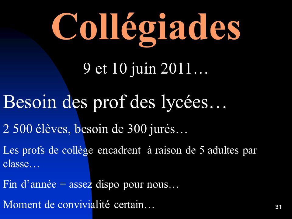 Collégiades Besoin des prof des lycées… 9 et 10 juin 2011…