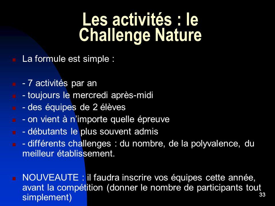 Les activités : le Challenge Nature
