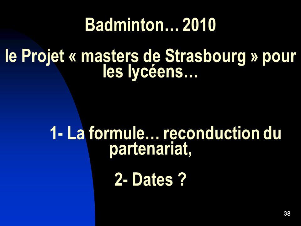 Badminton… 2010 le Projet « masters de Strasbourg » pour les lycéens…