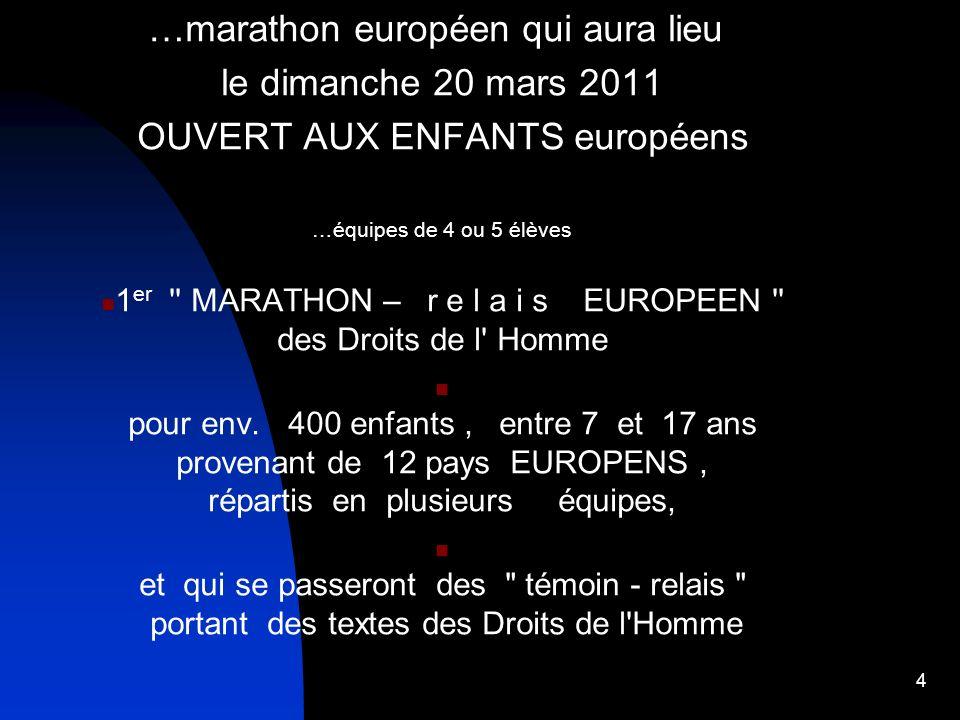 …marathon européen qui aura lieu le dimanche 20 mars 2011