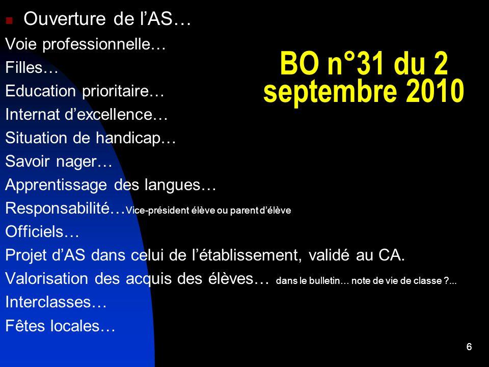 BO n°31 du 2 septembre 2010 Ouverture de l'AS… Voie professionnelle…