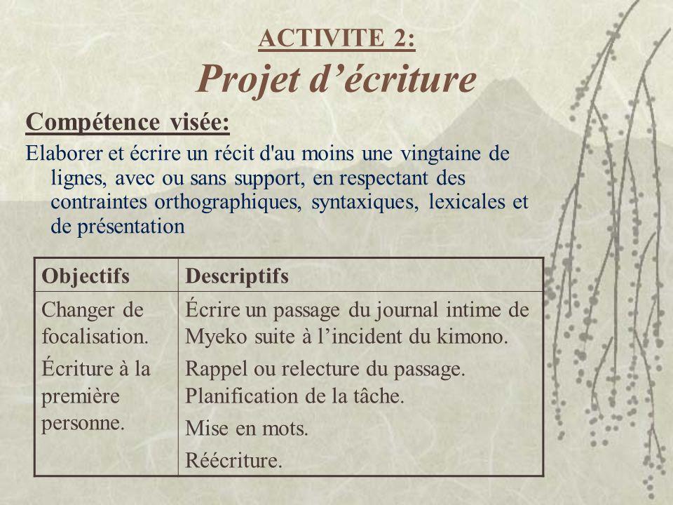 ACTIVITE 2: Projet d'écriture