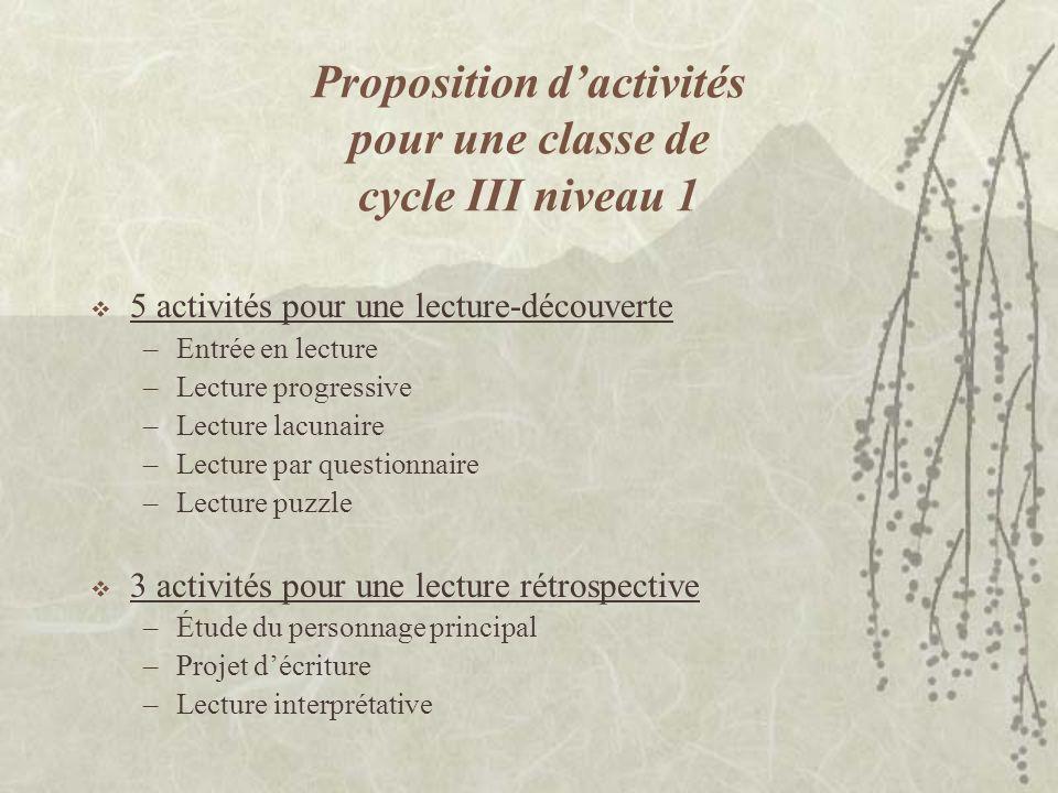 Proposition d'activités pour une classe de cycle III niveau 1