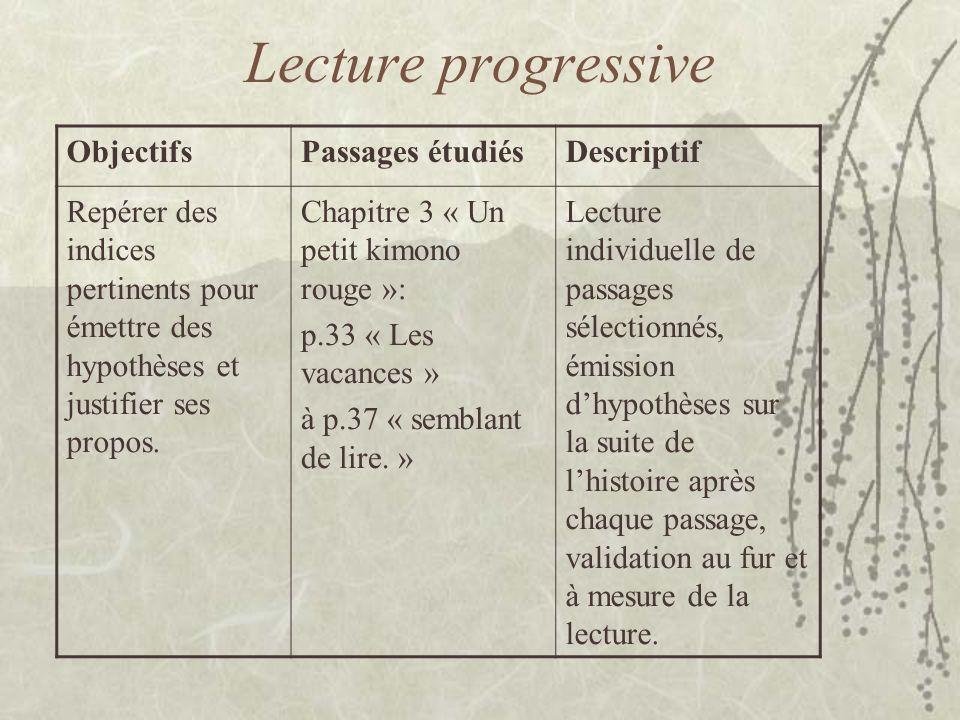 Lecture progressive Objectifs Passages étudiés Descriptif
