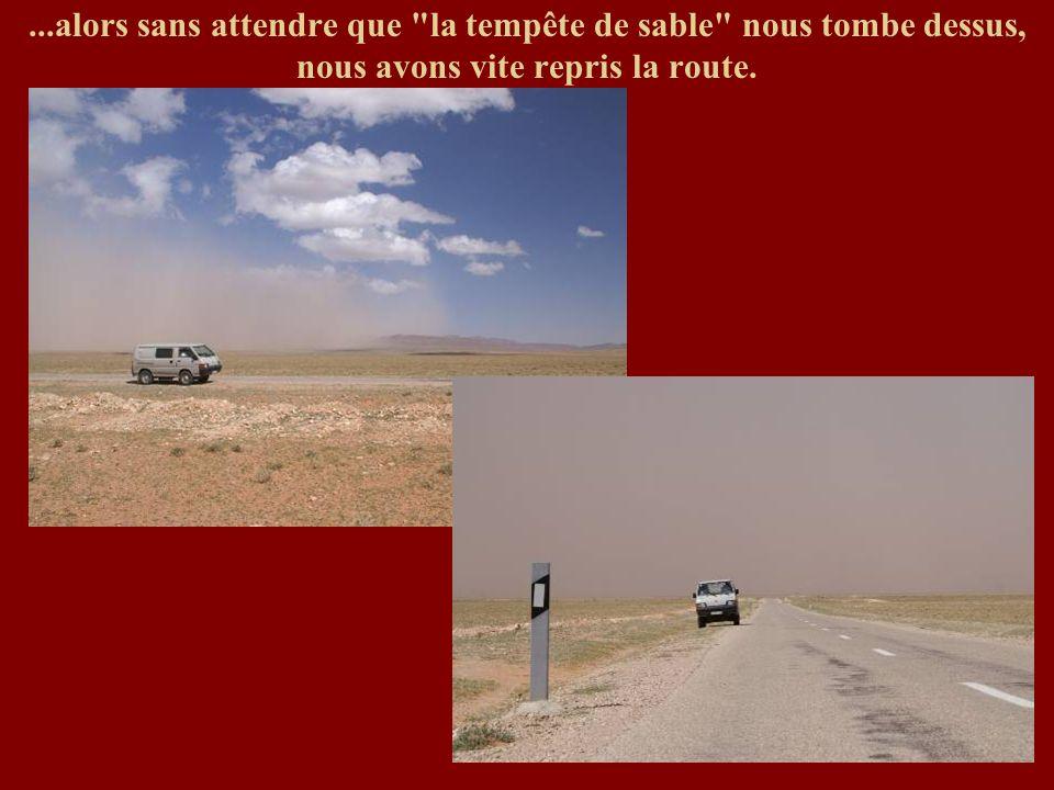 ...alors sans attendre que la tempête de sable nous tombe dessus, nous avons vite repris la route.