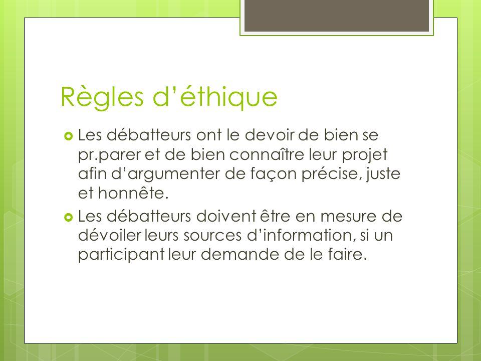 Règles d'éthique