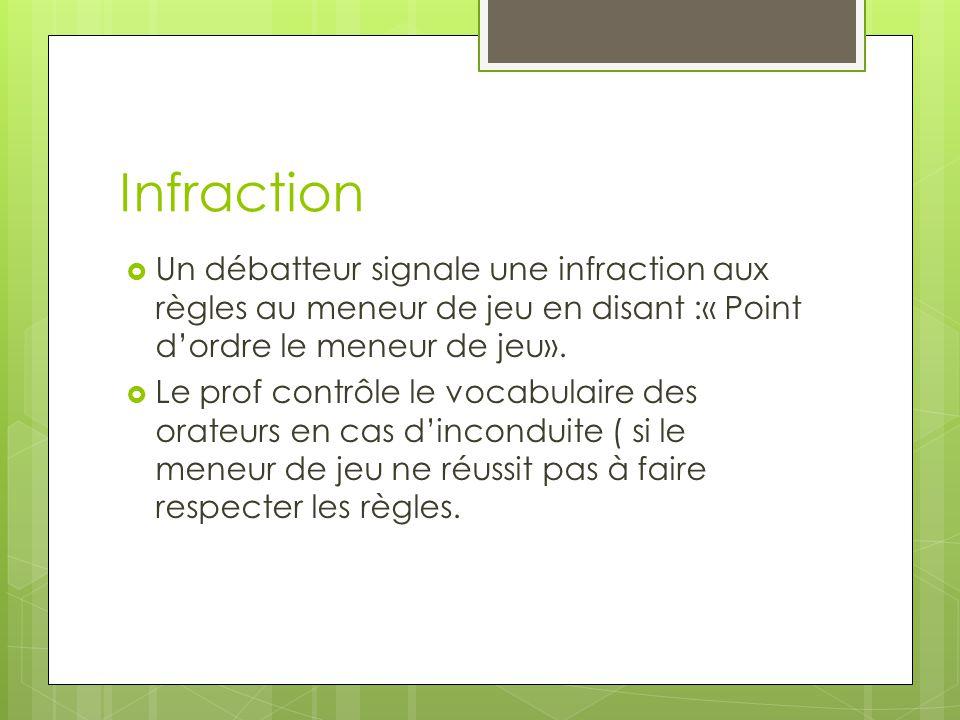 Infraction Un débatteur signale une infraction aux règles au meneur de jeu en disant :« Point d'ordre le meneur de jeu».
