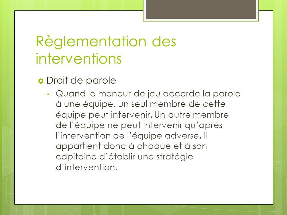 Règlementation des interventions