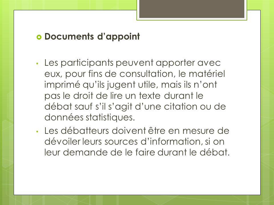 Documents d'appoint