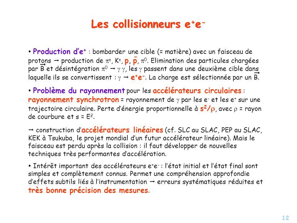Les collisionneurs e+e-