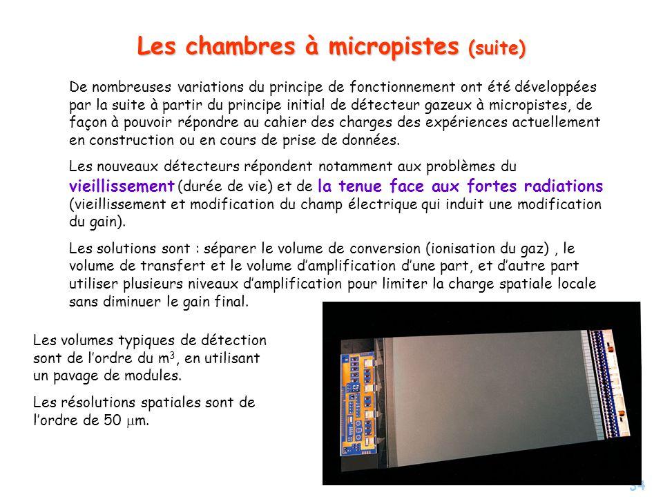 Les chambres à micropistes (suite)