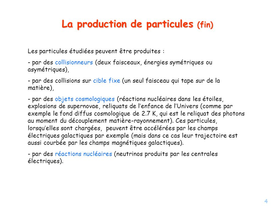 La production de particules (fin)