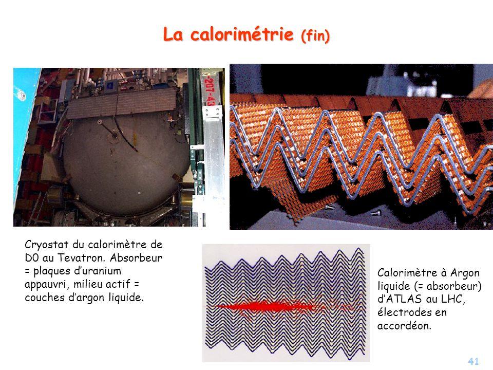 La calorimétrie (fin) Cryostat du calorimètre de D0 au Tevatron. Absorbeur = plaques d'uranium appauvri, milieu actif = couches d'argon liquide.