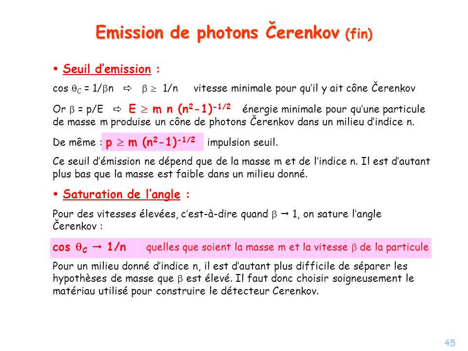 Emission de photons Čerenkov (fin)
