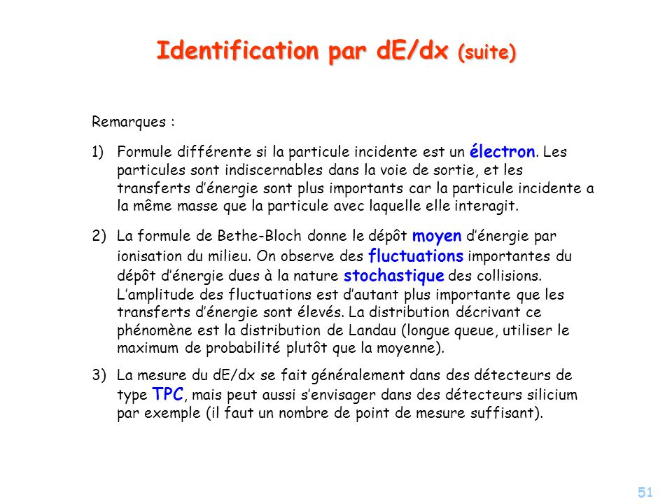 Identification par dE/dx (suite)