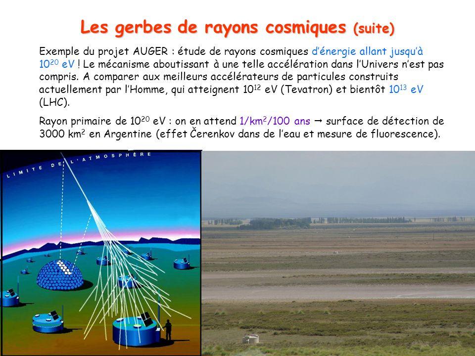 Les gerbes de rayons cosmiques (suite)