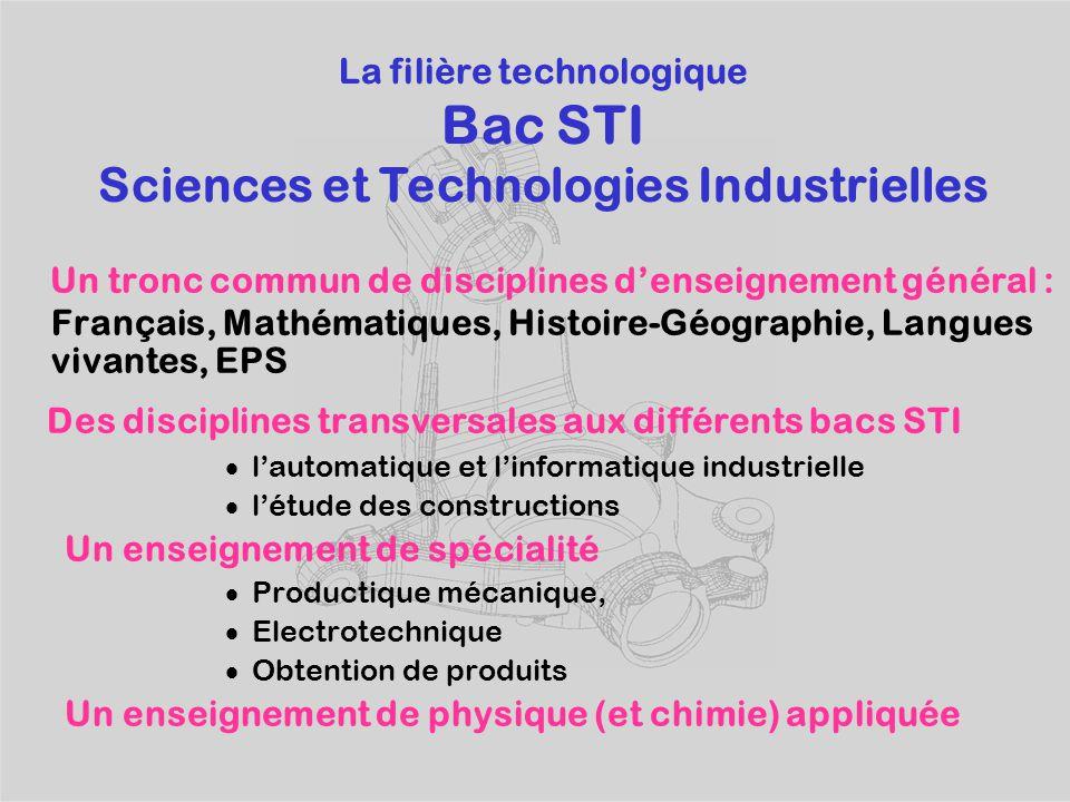 Des disciplines transversales aux différents bacs STI