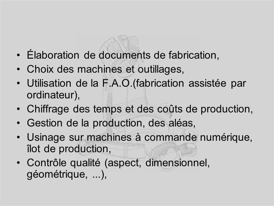 Élaboration de documents de fabrication,