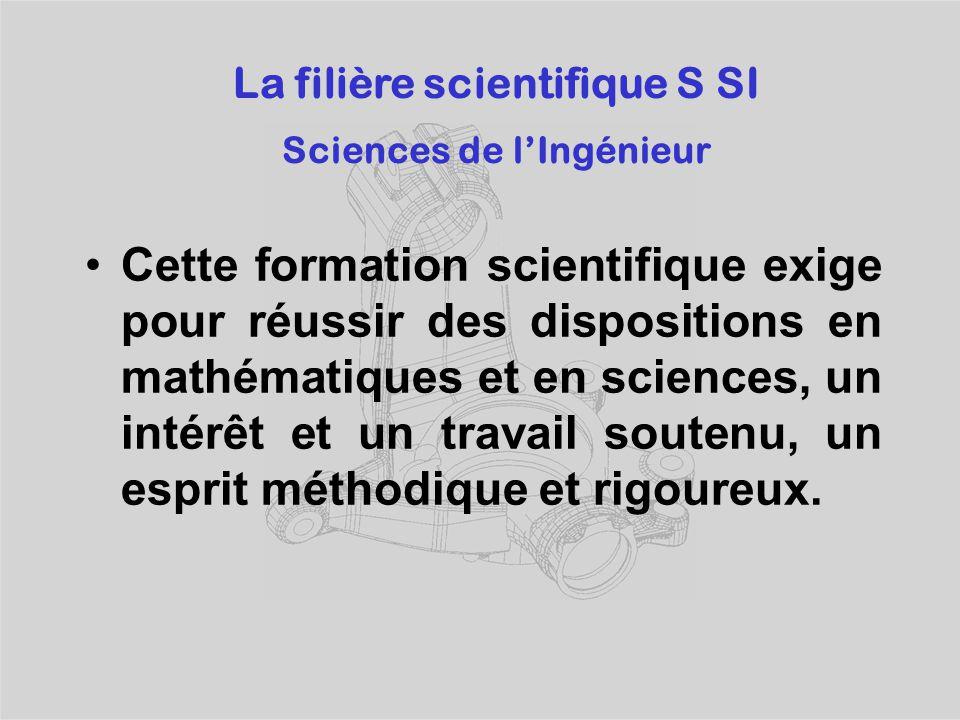 La filière scientifique S SI Sciences de l'Ingénieur