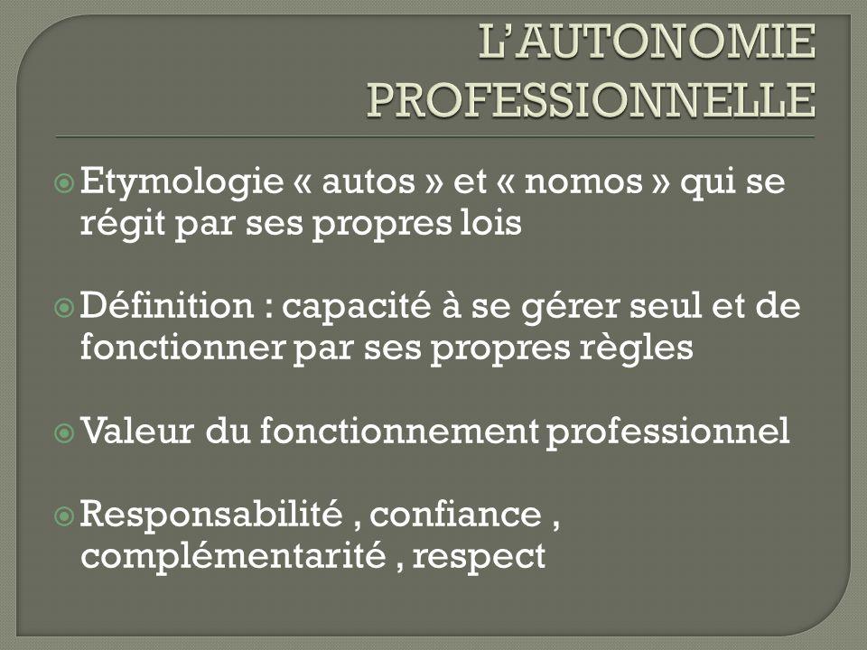 L'AUTONOMIE PROFESSIONNELLE