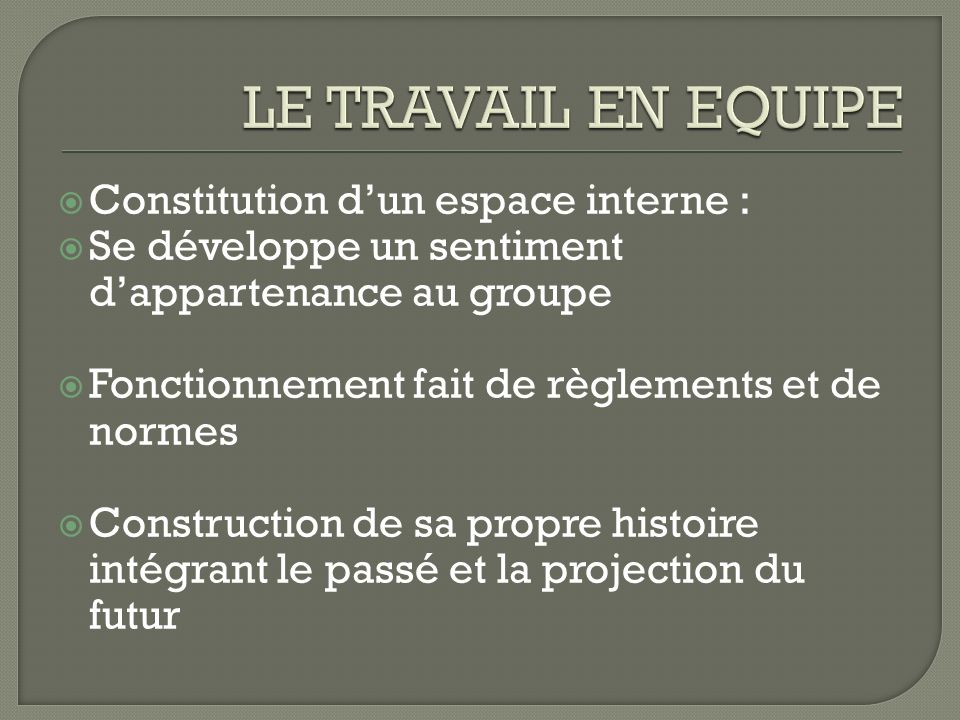 LE TRAVAIL EN EQUIPE Constitution d'un espace interne :