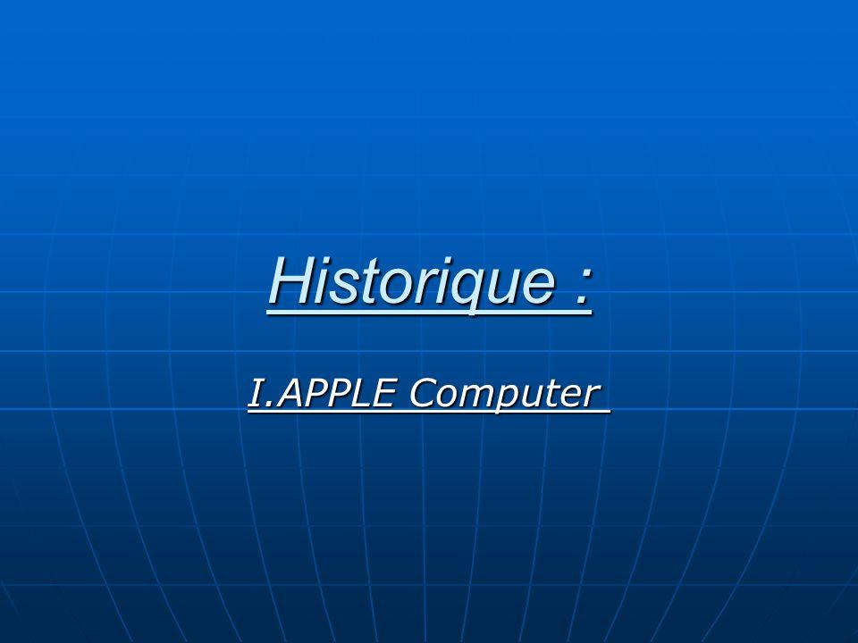 Historique : I.APPLE Computer