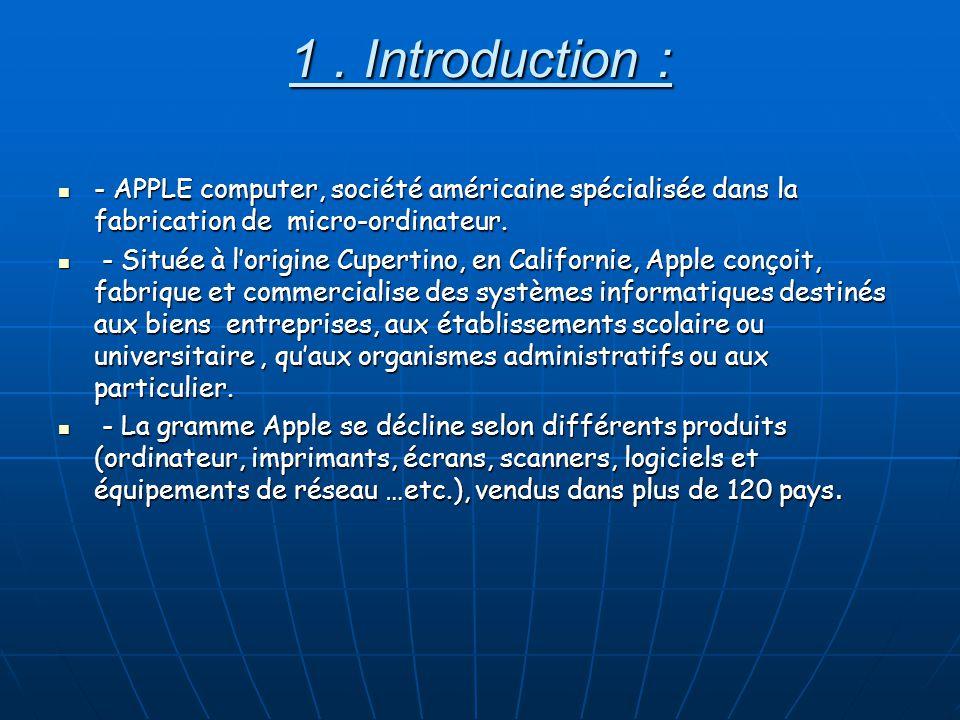 1 . Introduction : - APPLE computer, société américaine spécialisée dans la fabrication de micro-ordinateur.