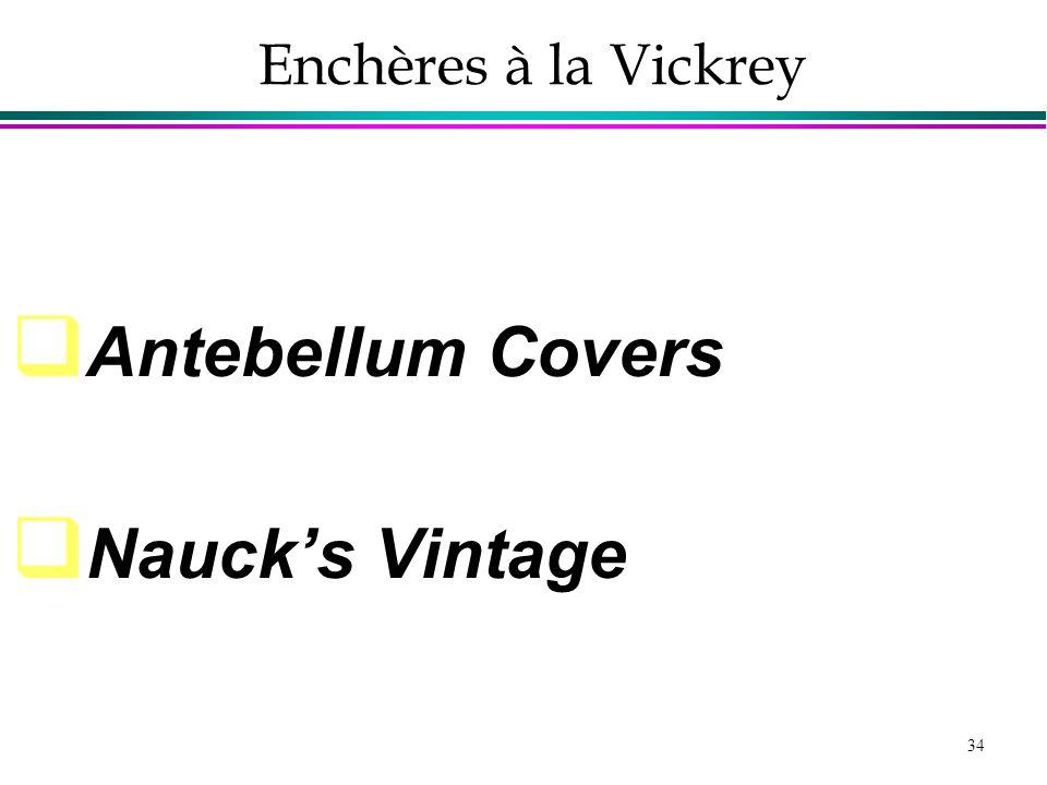 Enchères à la Vickrey Antebellum Covers Nauck's Vintage