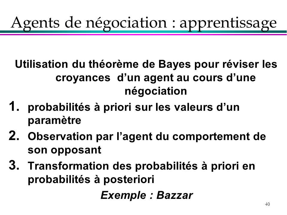 Agents de négociation : apprentissage