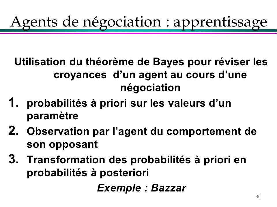 Agents de négociation : apprentissage