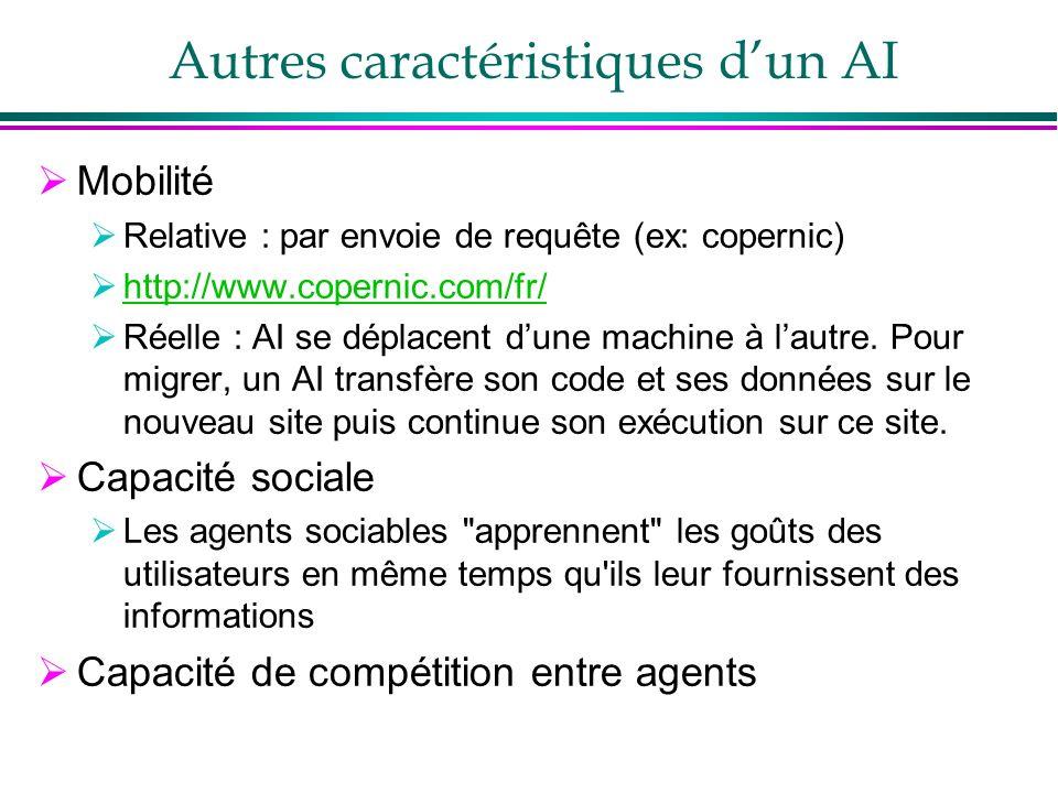 Autres caractéristiques d'un AI