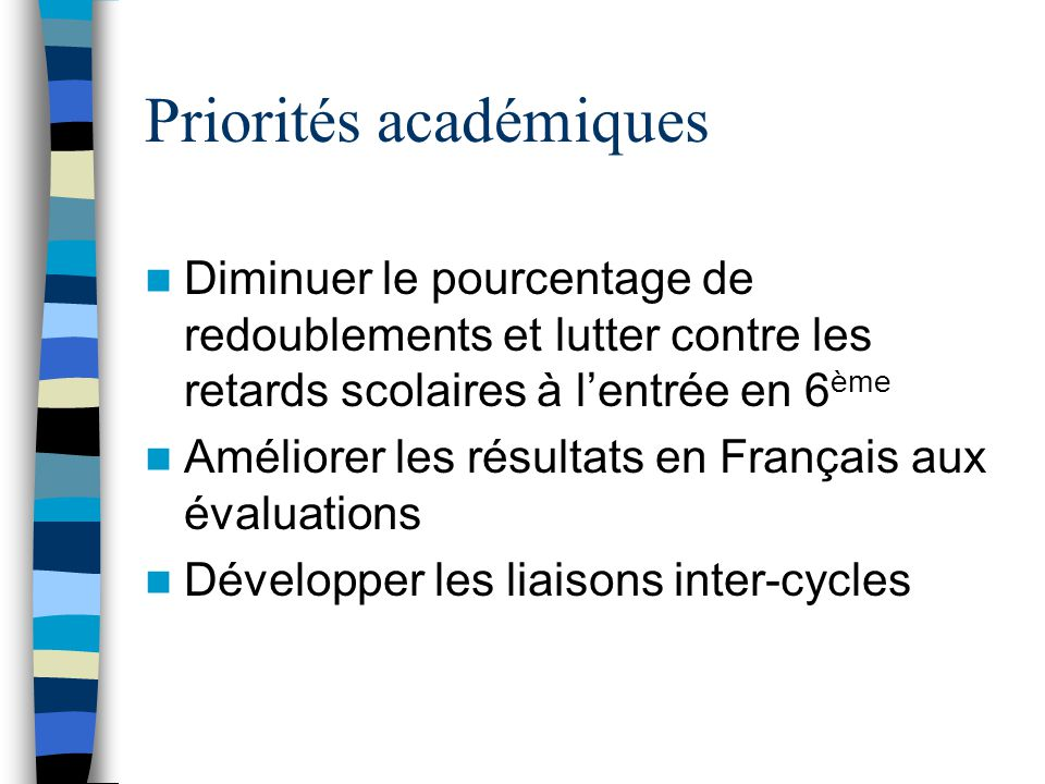 Priorités académiques