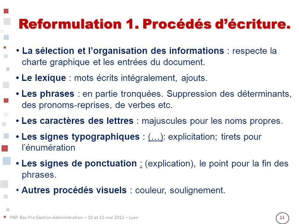 Reformulation 1. Procédés d'écriture.