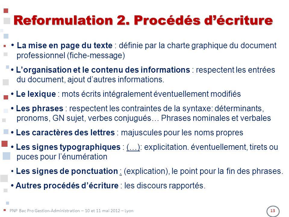 Reformulation 2. Procédés d'écriture
