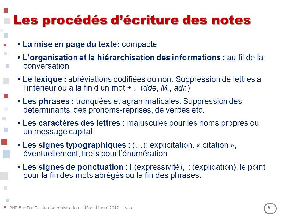 Les procédés d'écriture des notes