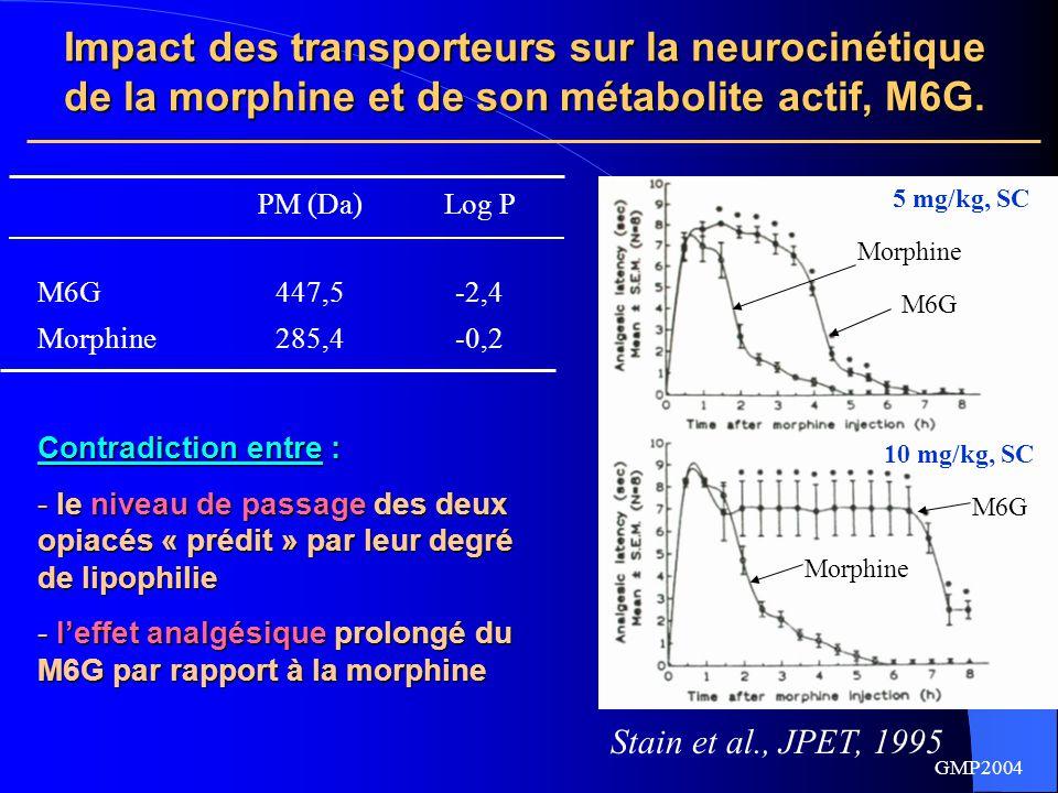 Impact des transporteurs sur la neurocinétique de la morphine et de son métabolite actif, M6G.