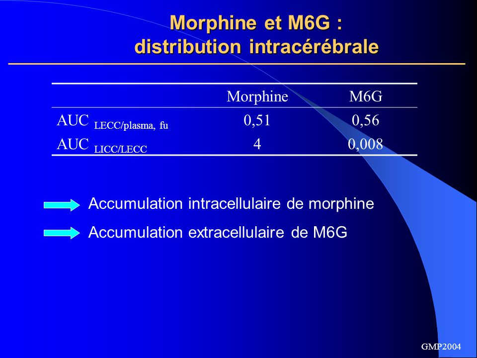 Morphine et M6G : distribution intracérébrale