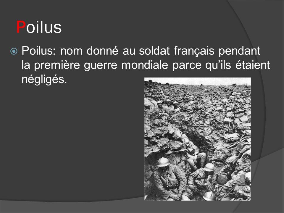 Poilus Poilus: nom donné au soldat français pendant la première guerre mondiale parce qu'ils étaient négligés.