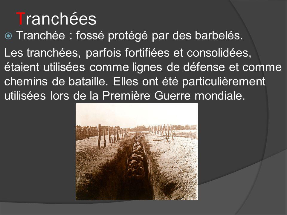 Tranchées Tranchée : fossé protégé par des barbelés.