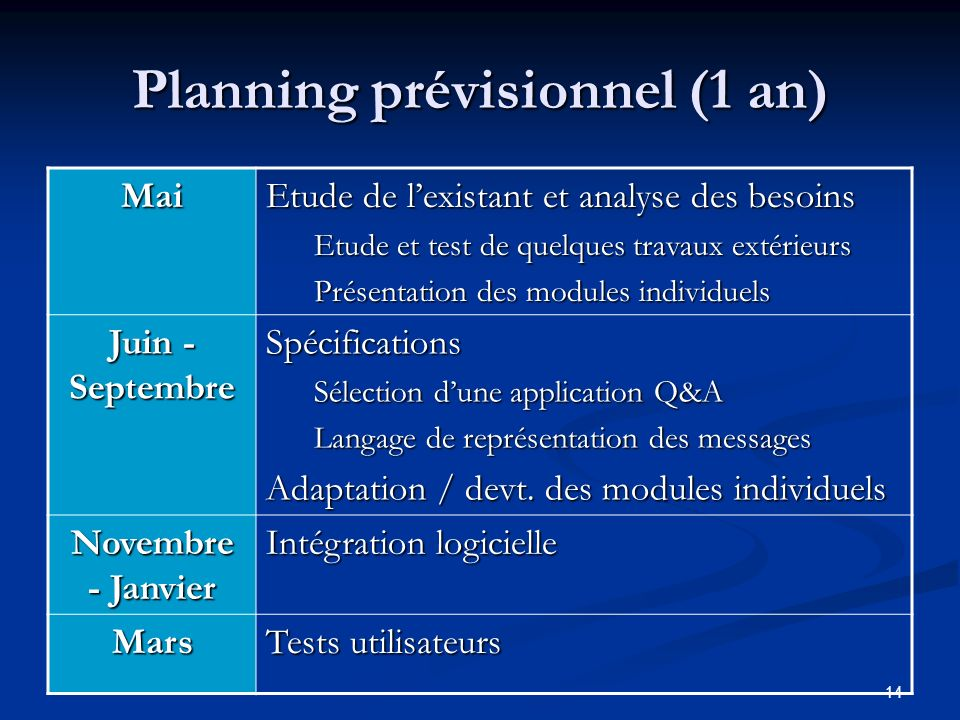 Planning prévisionnel (1 an)