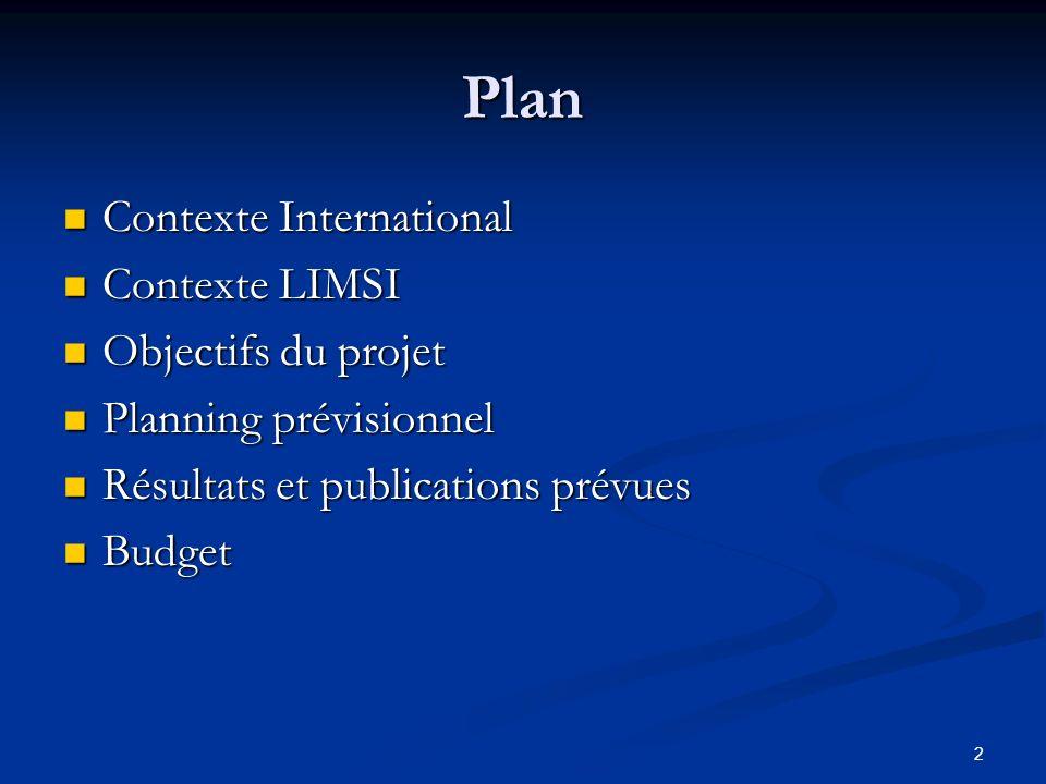 Plan Contexte International Contexte LIMSI Objectifs du projet