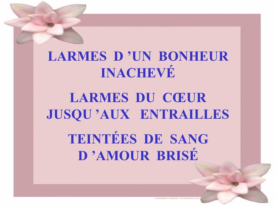 LARMES D 'UN BONHEUR INACHEVÉ LARMES DU CŒUR JUSQU 'AUX ENTRAILLES