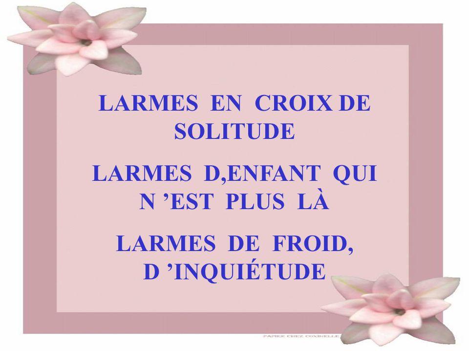 LARMES EN CROIX DE SOLITUDE LARMES D,ENFANT QUI N 'EST PLUS LÀ