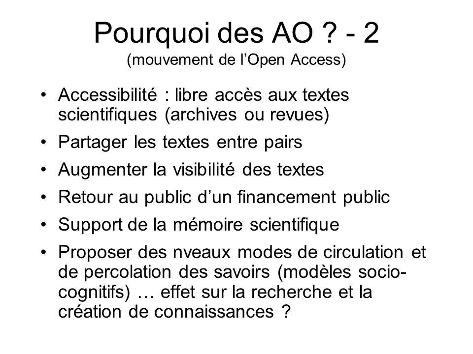 Pourquoi des AO - 2 (mouvement de l'Open Access)