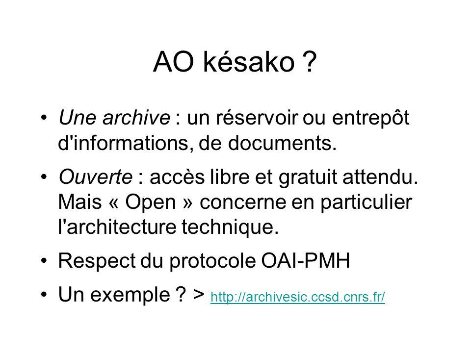 AO késako Une archive : un réservoir ou entrepôt d informations, de documents.