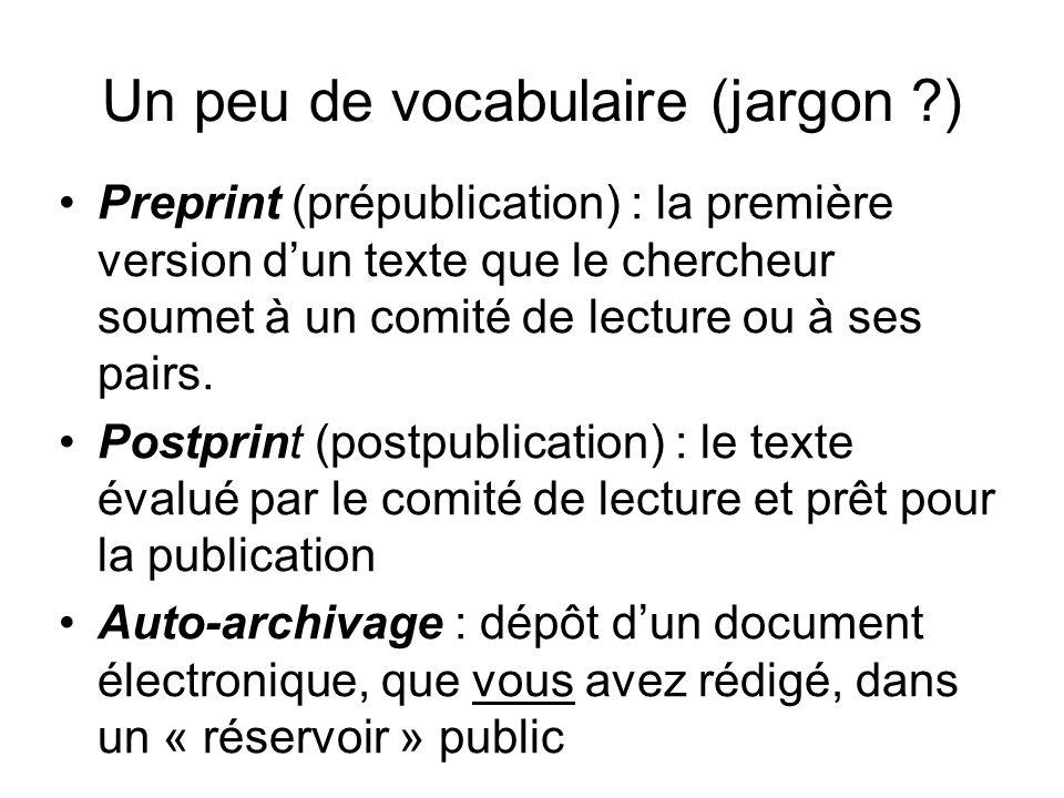 Un peu de vocabulaire (jargon )