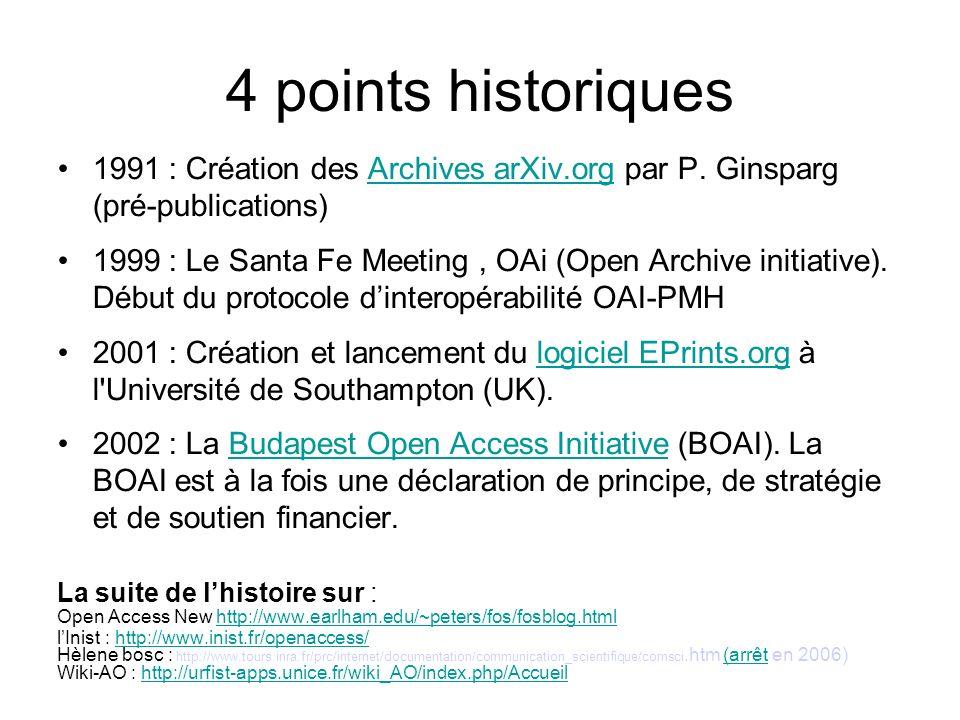 4 points historiques1991 : Création des Archives arXiv.org par P. Ginsparg (pré-publications)