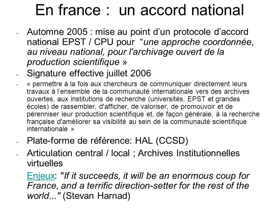 En france : un accord national