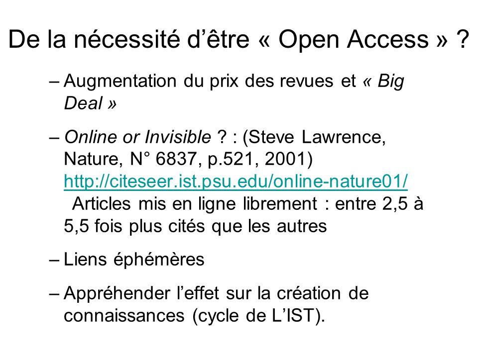 De la nécessité d'être « Open Access »